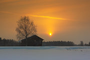 The sun colors the morning sky orange in the fields of the Northern Finland. | TheTravelPictures.com |