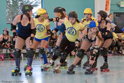 Another shot from the roller derby last Saturday. The local team, the Toxic 253, is in yellow. BTW, they won the bout, their first win.